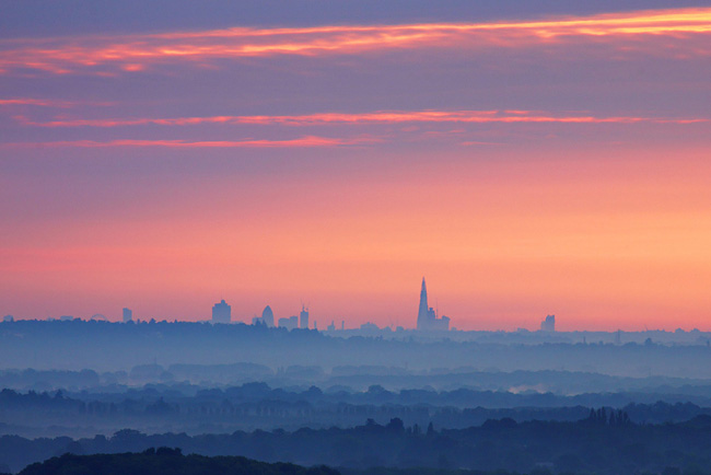 London Skyline from the Hogs Back, Guildford